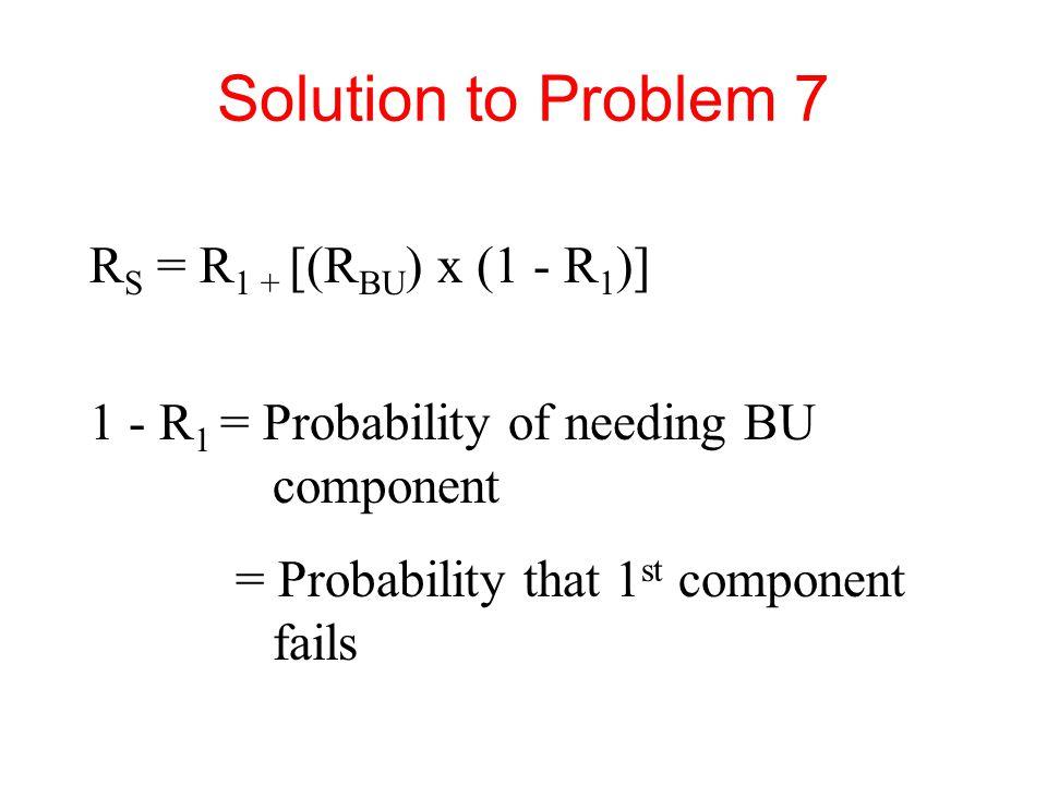 Solution to Problem 7 RS = R1 + [(RBU) x (1 - R1)]